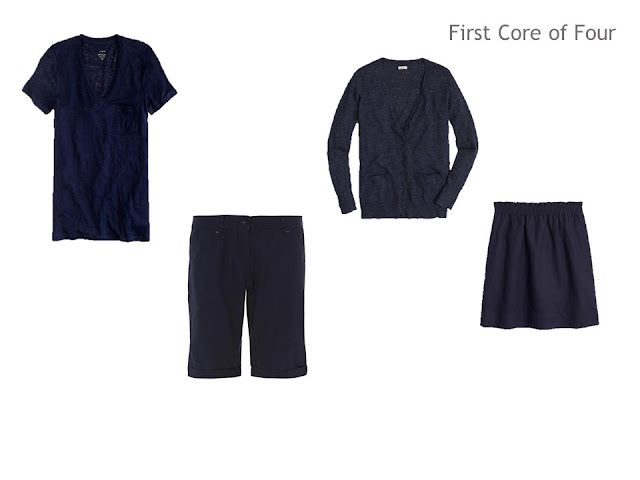 A First Core of Four of navy tee, shorts, cardigan and skirt for a warm-weather trip