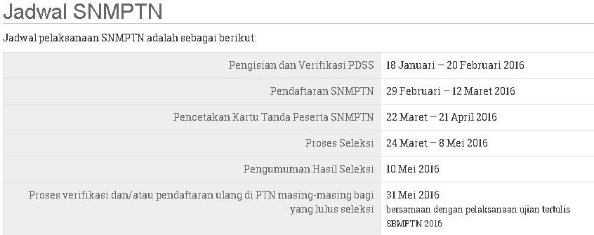 Jadwal Resmi SNMPTN 2016 dan SBMPTN 2016 Sudah Launching
