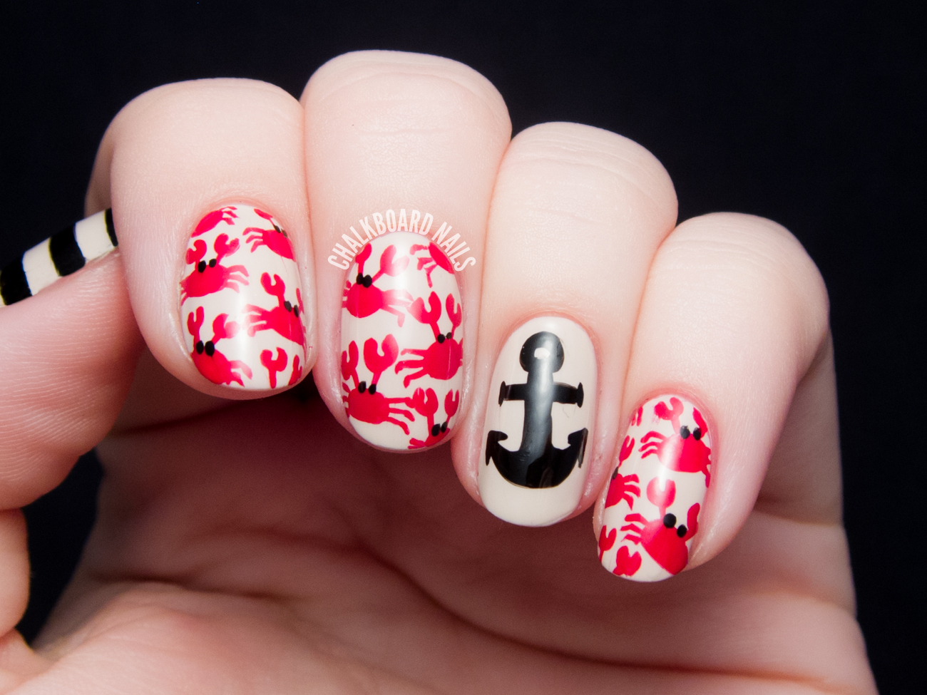 Crab print and nautical mix chalkboard nails nail art blog crab print and nautical mix prinsesfo Gallery