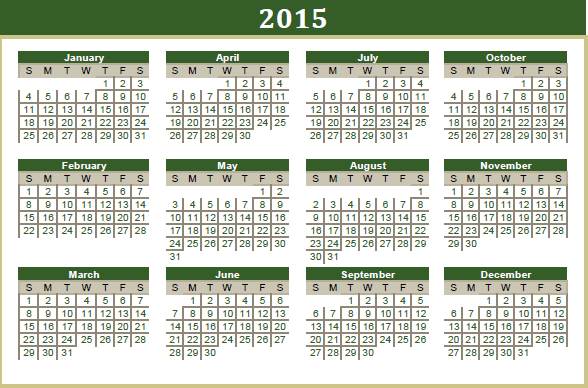 Winter 2015 Term Calendar