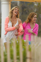 Kate Upton and Leslie Mann on the set of The Other Woman in West Hampton
