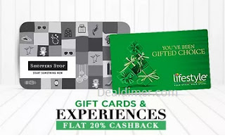 Gift Cards @ Flat 20% Cashback