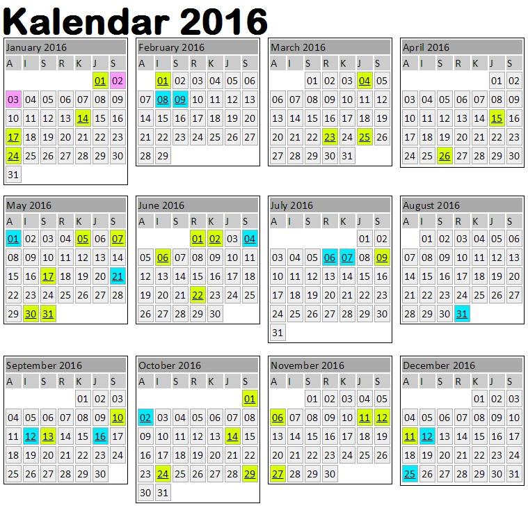 Kalendar Cuti Umum 2016 & Jadual Cuti Sekolah - BMBlogr