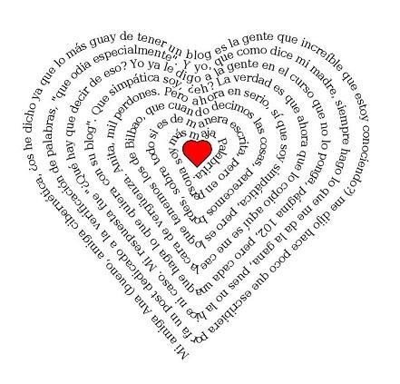 Tres cosas muy chulis: texto en forma de corazón, dibujo para ...