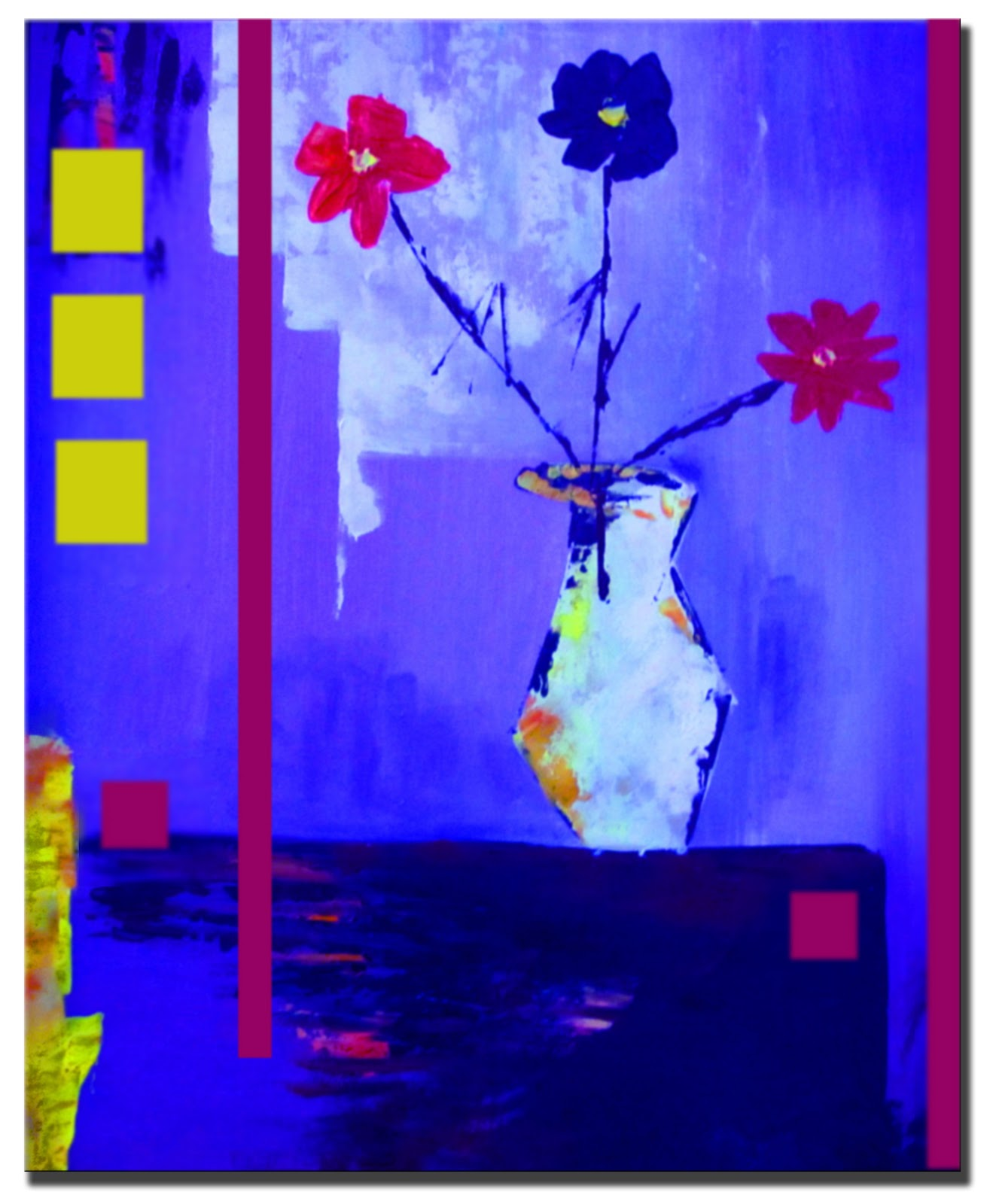 Original Abstract Painting Modern Flowers
