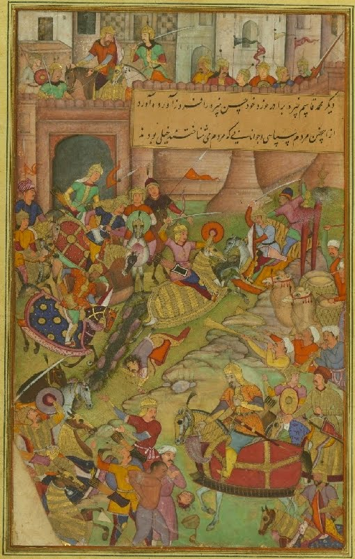 Mughal manuscript miniature of battle