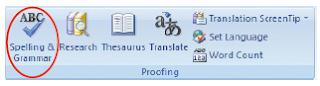 Tampilan ikon Spelling and Grammar.