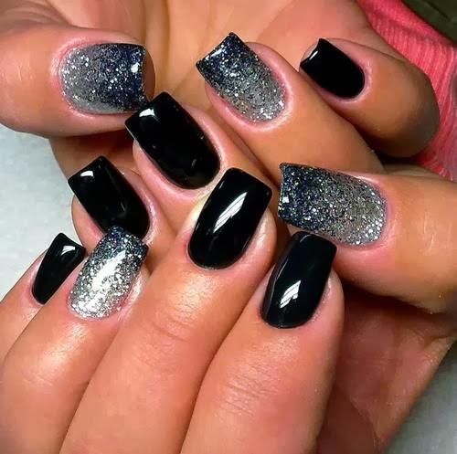 Black and Silver, Amazing Shining Nails