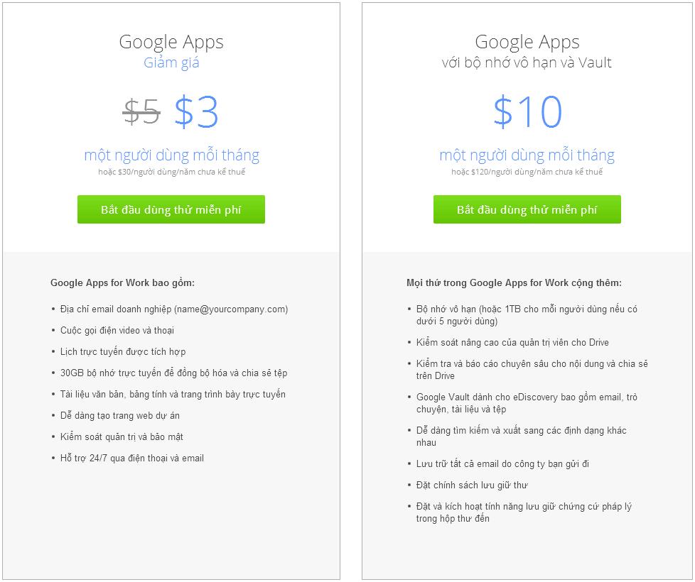 Đăng ký Google Apps for Work & Email riêng còn 3$/tháng