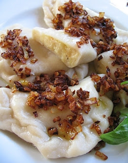 """Ruskie pierogi"" - potato, cheese and onion filled dumplings"