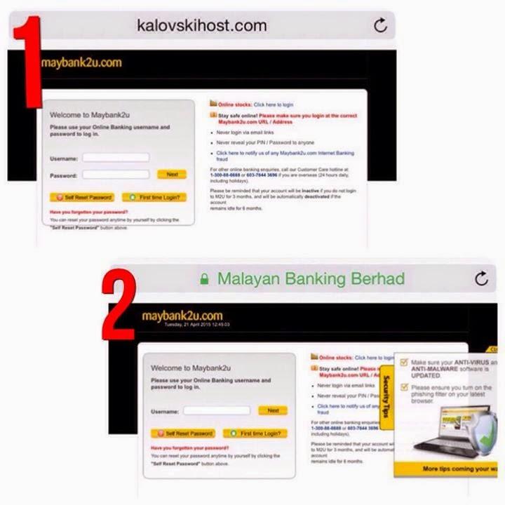 Cara mengenal Maybank2u palsu dan original