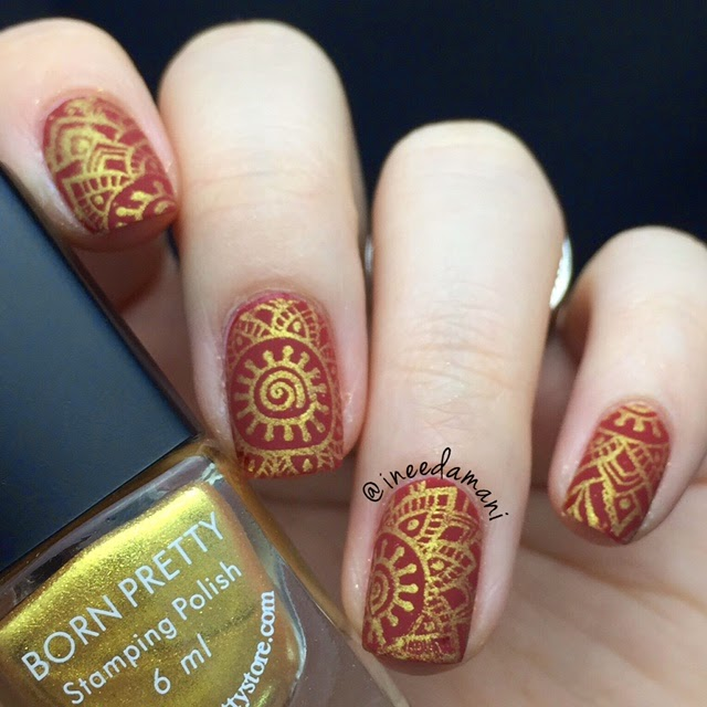 bp55 red and gold sari nails