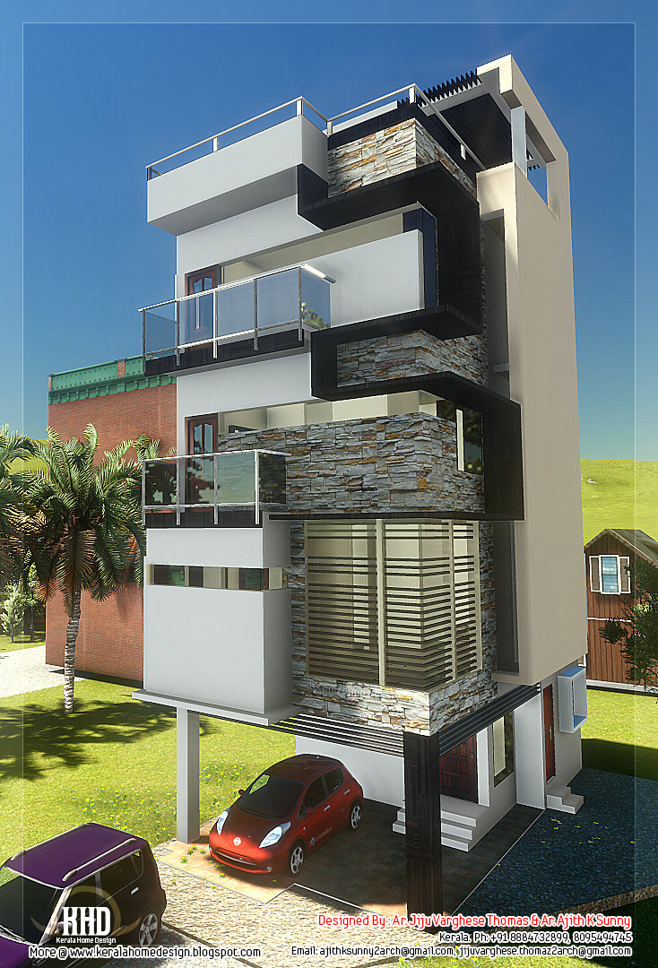 3 floor contemporary narrow home design kerala home for Narrow house plans
