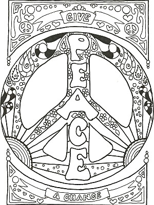 Kay larch studios peace sign art coloring books for Peace sign mandala coloring pages