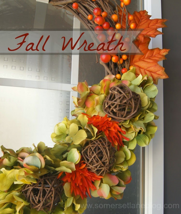 Fall wreath using twine balls and hydrangeas