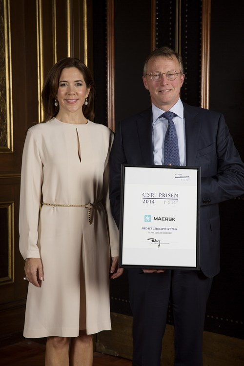 Princess Mary of Denmark attend the award ceremony of the CSR Priser for social responsible entrepreneurship at the Exchange building in Copenhagen, Denmark