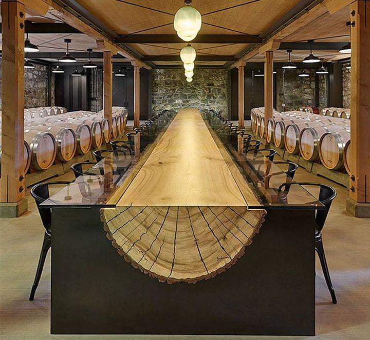 Meja Makan Unik kayu dari Batang Pohon