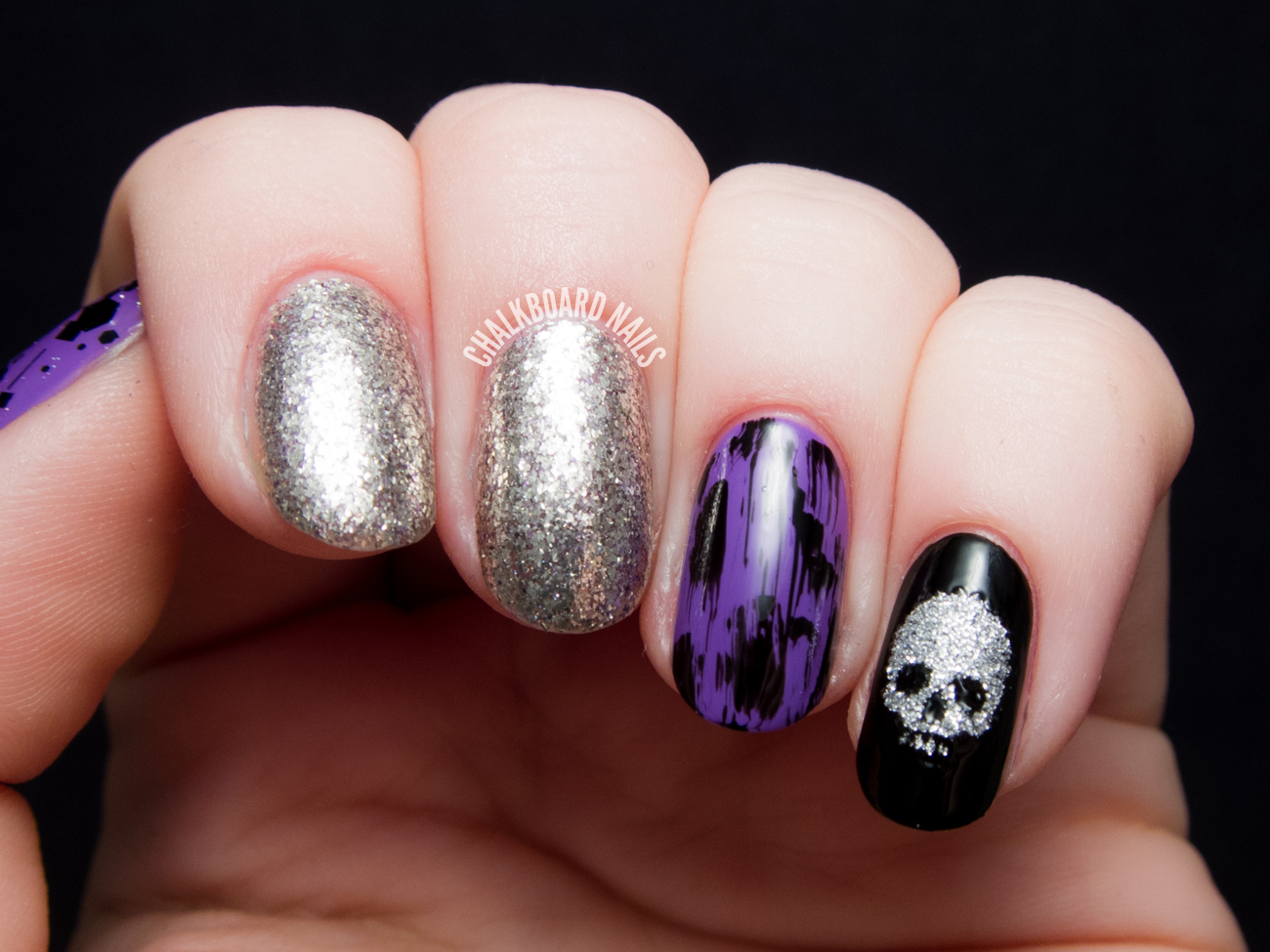 Pop Punk Skittlette With Glittery Skull And Distressed Accents