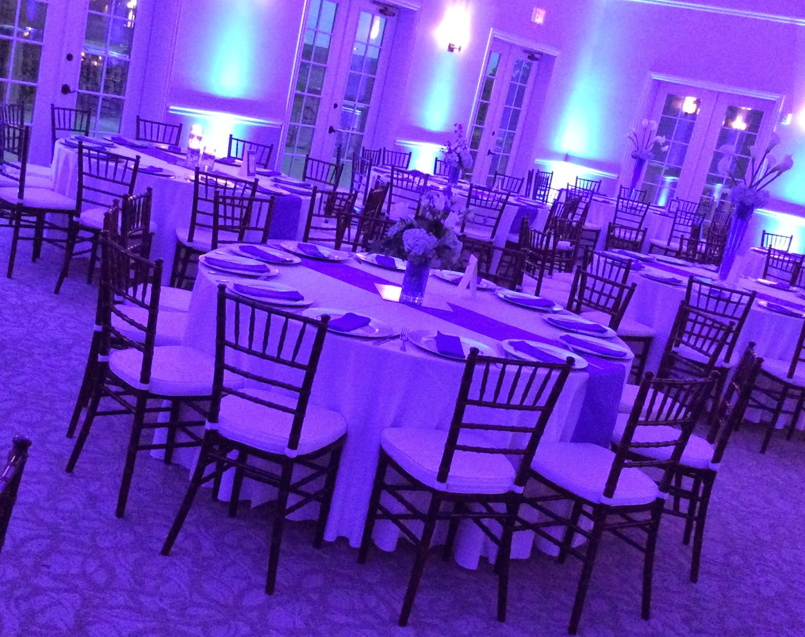 Colored Uplighting, Blue Wedding, Windsor at Hebron Creek, Culinary Art Catering