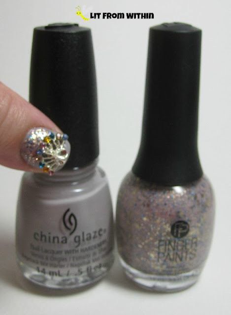 Bottle shot:  China Glaze Change Your Altitude and Finger Paints Hollywood Decadence.