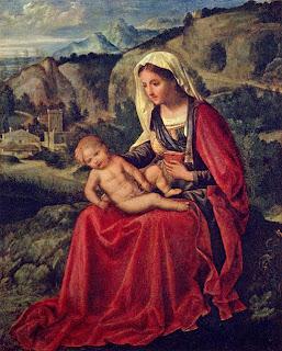 Maria und das Jesuskind in einer Landschaft