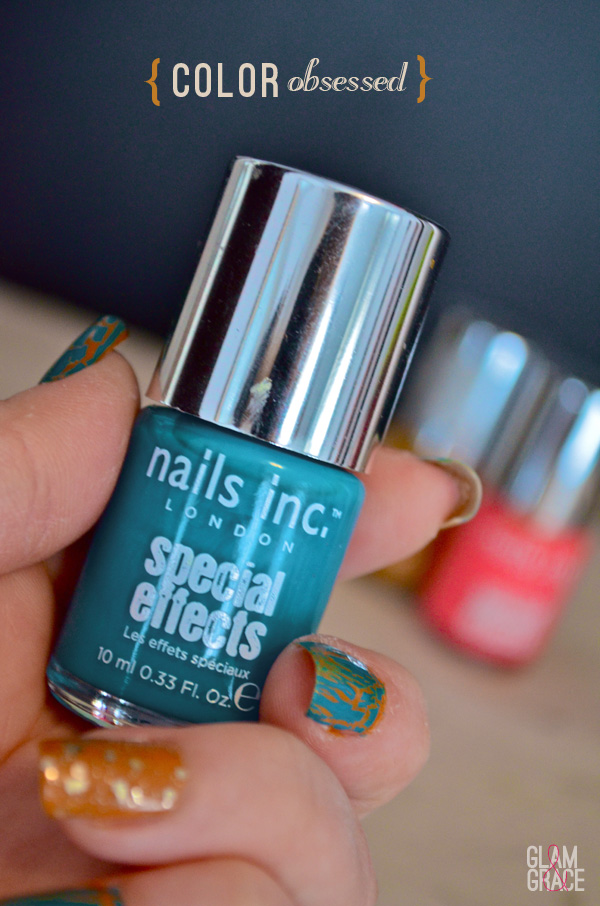 bright nail polish - crackle - turquoise - special effects