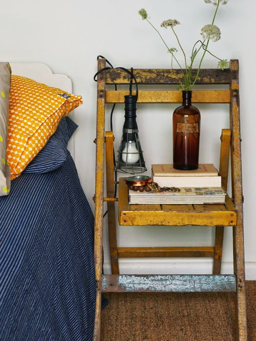 alternative bedside table ideas via small acorns blog