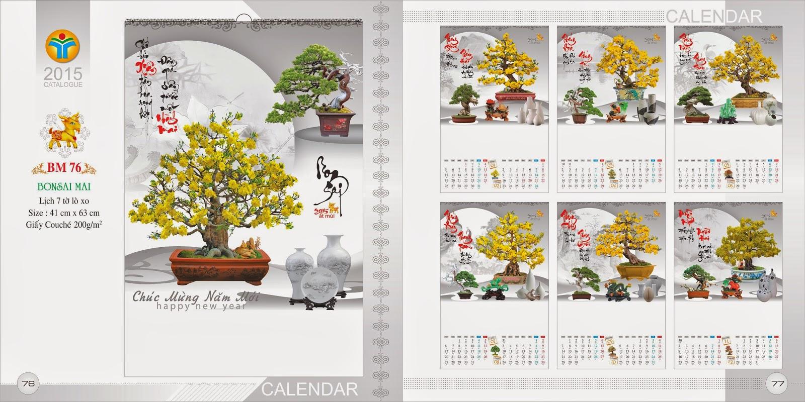 Lịch treo tường 7 Tờ Lò Xo - Bonsai Mai