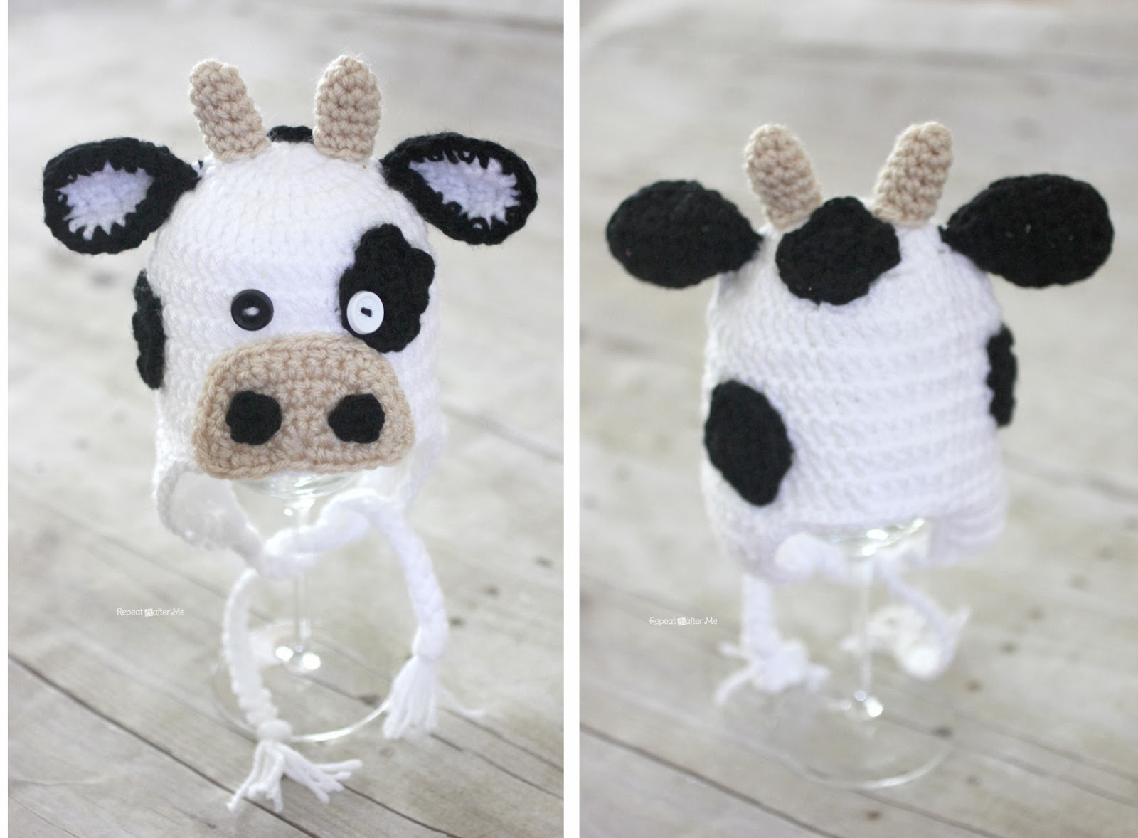 Free Crochet Pattern For Cow Hat : Crochet Cow Hat Pattern - Repeat Crafter Me