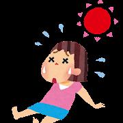 夏バテのイラスト「倒れる女の子」