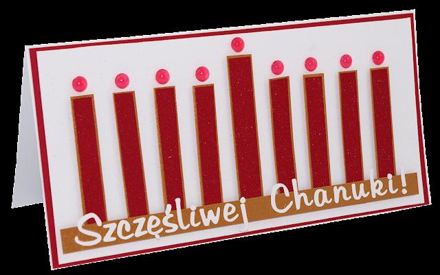 polska kartka chanukowa rękodzieło z okazji chanuki życzenia z monorah