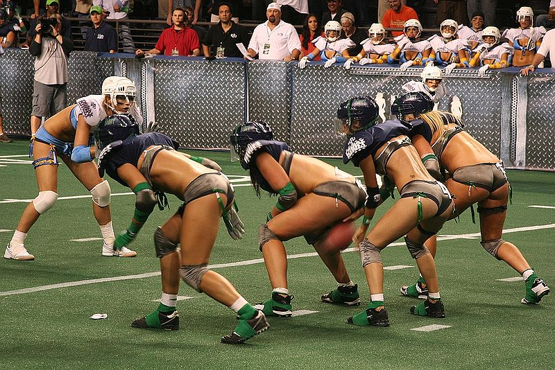 AMERICAN FOOTBALL WITH LINGERIES IN LINGERIE FOOTBALL LEAGUE IN USA