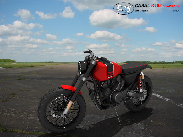 HR44 - K188 Scrambler motorcycle With a few minor cosmetic changes and behold, the Enduro becomes the Scrambler. By Hr Designs