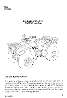 1995 TRX 300 HONDA FOURTRAX 300 OWNER'S MANUAL