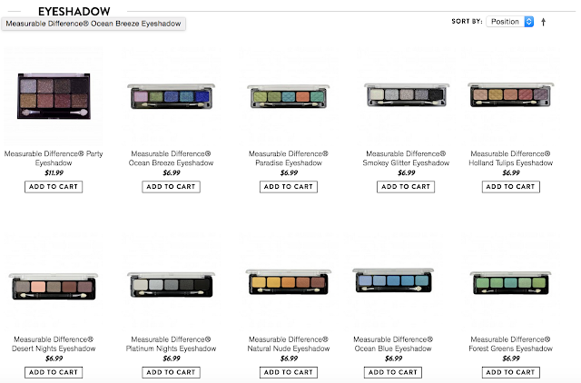Here's a screenshot of some of Measurable Differences lovely eyeshadow palettes, sold on their site or on chrislie.com