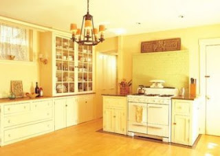 Yellow Kitchen Cabinet Design Photo