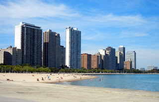 Oak street beach in downtown Chicago, Illinois