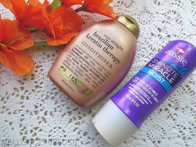 a picture of OGX Brazilian Keratin Therapy Conditioner, Aussie Moist 3 minute miracle
