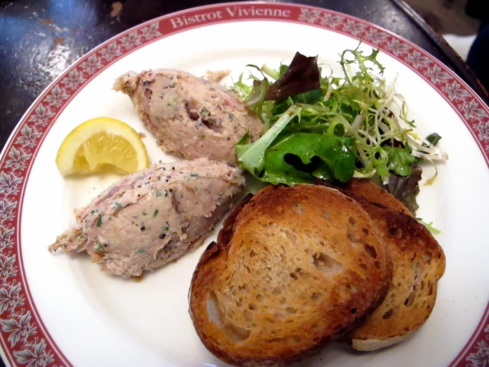 Smoked mackerel rillettes with toasted farmhouse bread at Bistrot Vivienne, Paris