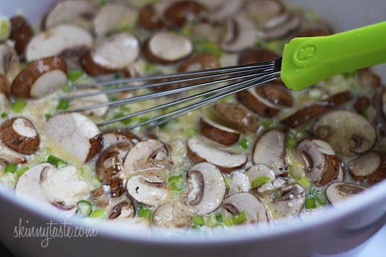 Make-Over Breakfast Sausage and Mushroom Strata | Skinnytaste