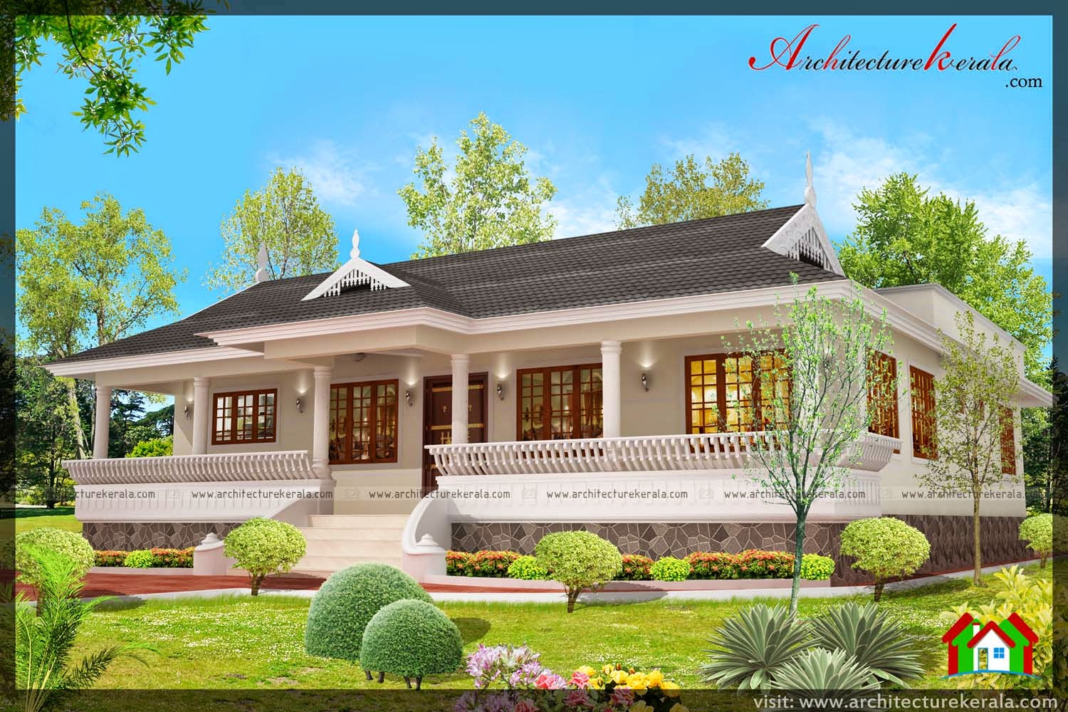 Nalukettu style kerala house with nadumuttam for House plans with photos in kerala style