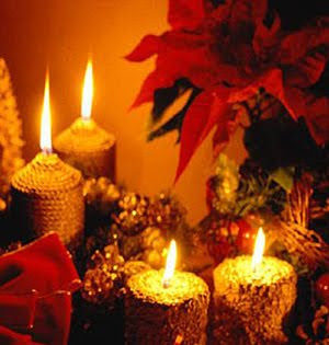 Beautiful glowing candles in the decorations of christmas