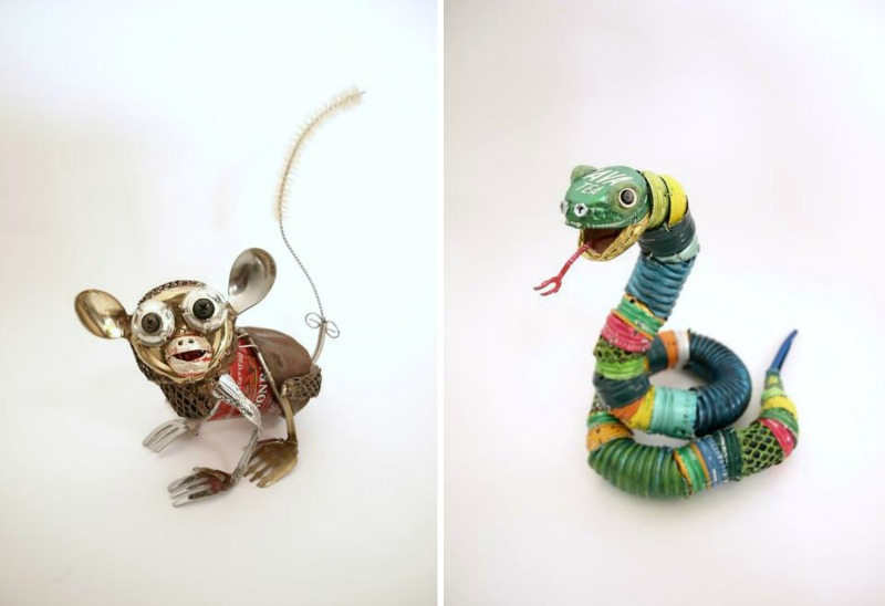Animal Sculptures Made From Recycled Materials By Natsumi