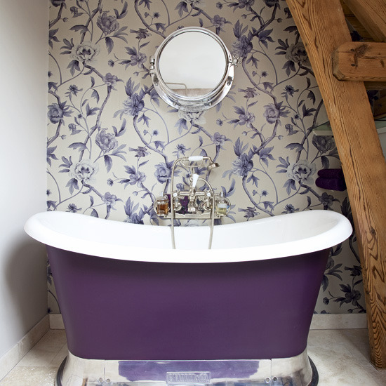 Creating An Accent Wall Behind The Royal Purple Tub Floral Wallpaper Is Lively And Colorful I Love How Shiny Silver Pedestal On Mimics