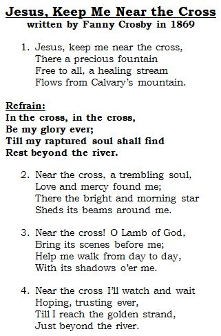 Near the Cross > Lyrics | Frances J. Crosby