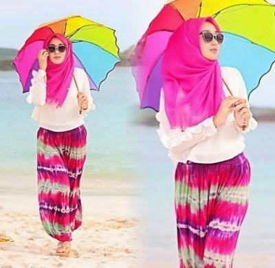 paduan hijab celana harem