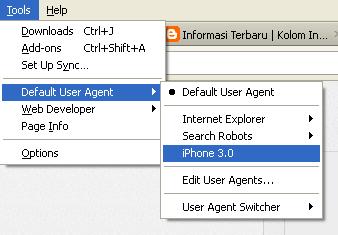 cara ganti user agent