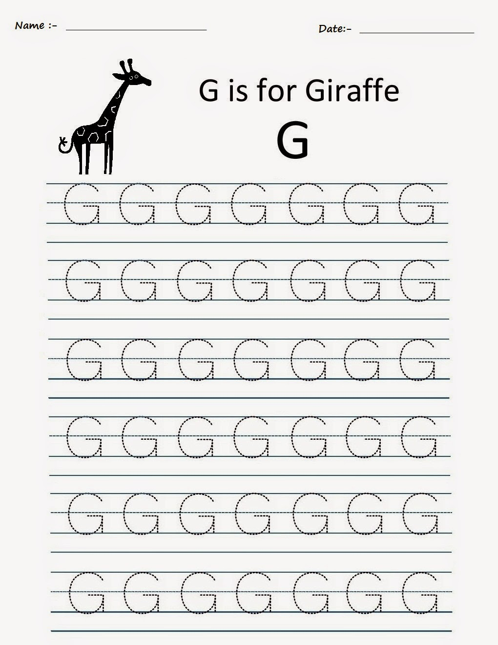 Trace Letter G Worksheets Kindergarten Pictures to Pin on – Letter G Worksheets for Kindergarten