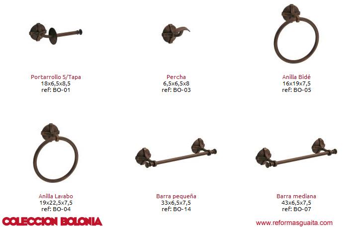 Accesorios De Baño Rusticos:Colección Bolonia de accesorios rústicos ~ Reformas Guaita