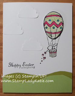 Easter Card made with Stampin'UP! stamp set: Everybunny and clouds made with the cupcake punch.